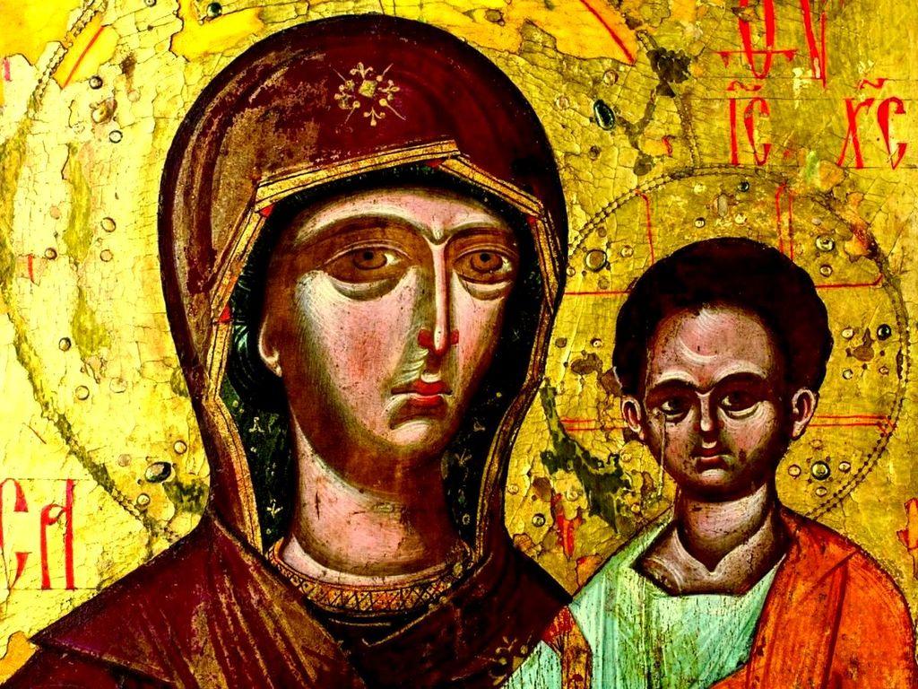 Богоматерь Одигитрия. Сербская икона. Монастырь Высокие Дечаны, Косово, Сербия. Фрагмент.
