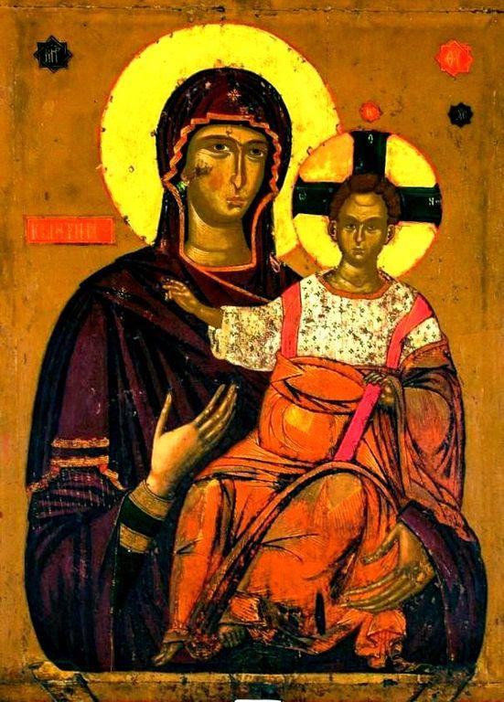 Богоматерь Одигитрия. Сербская икона. Монастырь Высокие Дечаны, Косово, Сербия.