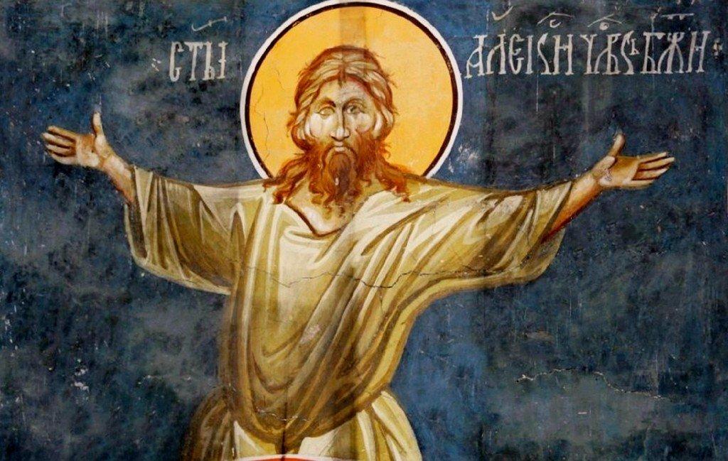 Святой Преподобный Алексий, человек Божий. Фреска церкви Богоматери Одигитрии в монастыре Печская Патриархия, Косово, Сербия. XIV век.