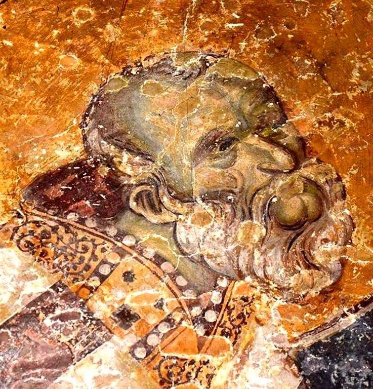 Лик Святителя. Фреска церкви Богородицы Левишки в Призрене, Косово, Сербия. Около 1310 - 1313 годов. Иконописцы Михаил Астрапа и Евтихий.