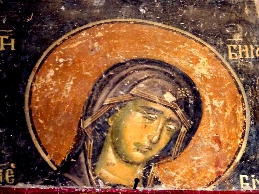 Лик Пресвятой Богородицы. Фреска церкви Святого Николая в монастыре Псача, Македония. 1365 - 1377 годы.