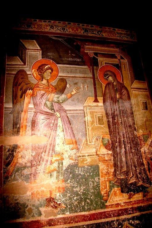 Благовещение Пресвятой Богородицы. Фреска монастыря Грачаница, Косово, Сербия. Около 1320 года.