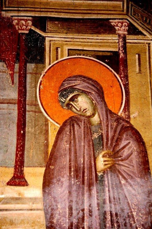 Благовещение Пресвятой Богородицы. Фреска монастыря Грачаница, Косово, Сербия. Около 1320 года. Фрагмент.