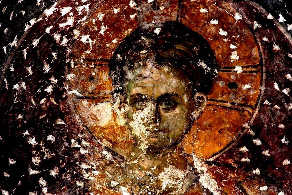Христос Эммануил. Фреска церкви Богородицы Левишки в Призрене, Косово, Сербия. Около 1310 - 1313 годов. Иконописцы Михаил Астрапа и Евтихий.