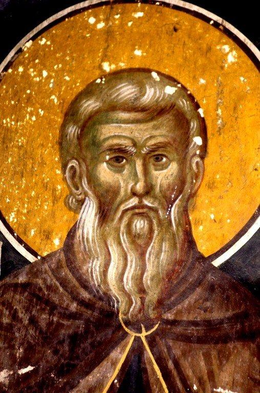 Святой Преподобный Иоанн Лествичник. Фреска церкви Богородицы в монастыре Студеница, Сербия. 1568 год.