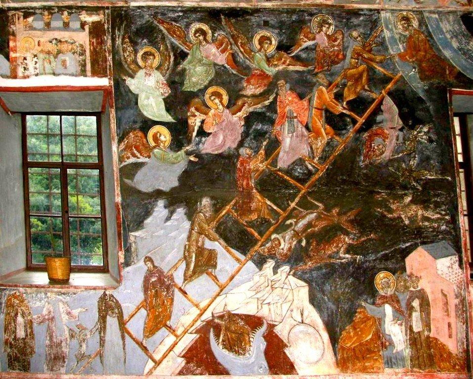 Лествица Святого Преподобного Иоанна Лествичника. Фреска сербского монастыря Хиландар на Афоне. XVI век.