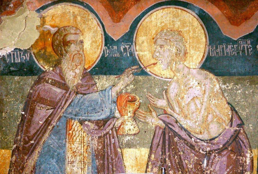 Причащение Святой Преподобной Марии Египетской. Фреска монастыря Благовещения Пресвятой Богородицы, Сербия.