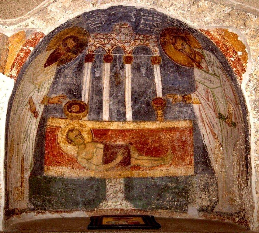 Мелисмос. Фреска притвора короля Радослава церкви Богородицы в монастыре Студеница, Сербия. 1230-е годы.