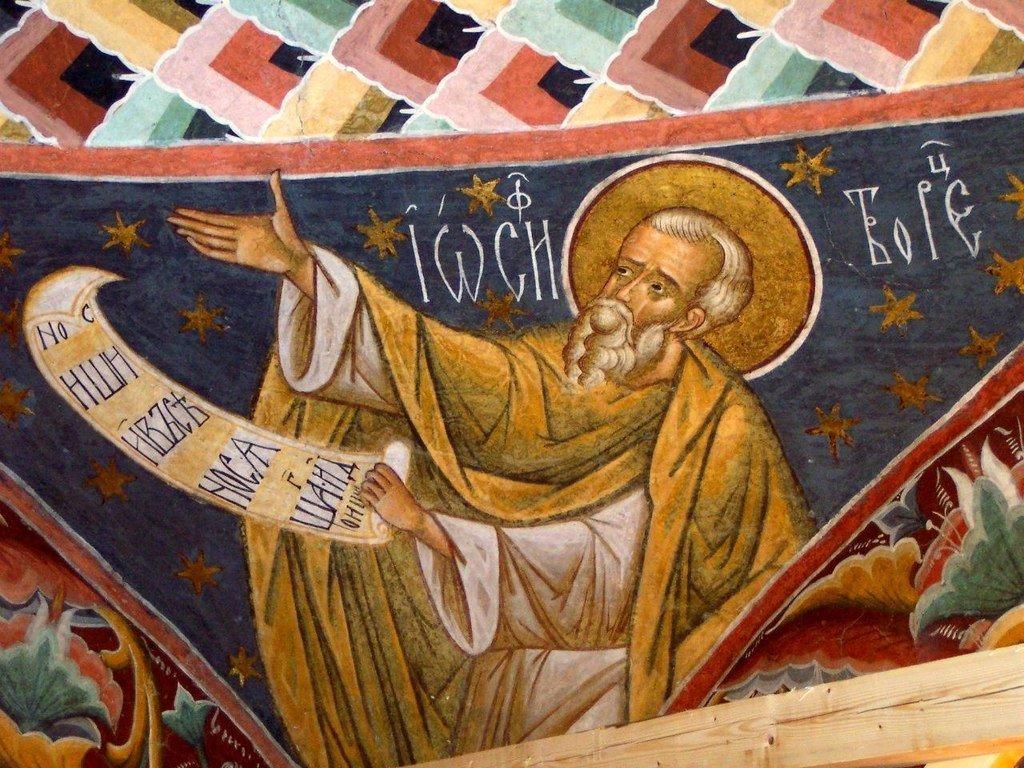Святой Преподобный Иосиф Песнописец. Фреска монастыря Воронец, Румыния. XVI век.