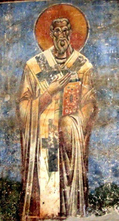 Святой Равноапостольный Мефодий, просветитель славян. Фреска церкви Святого Георгия в Курбиново, Македония. 1191 год.