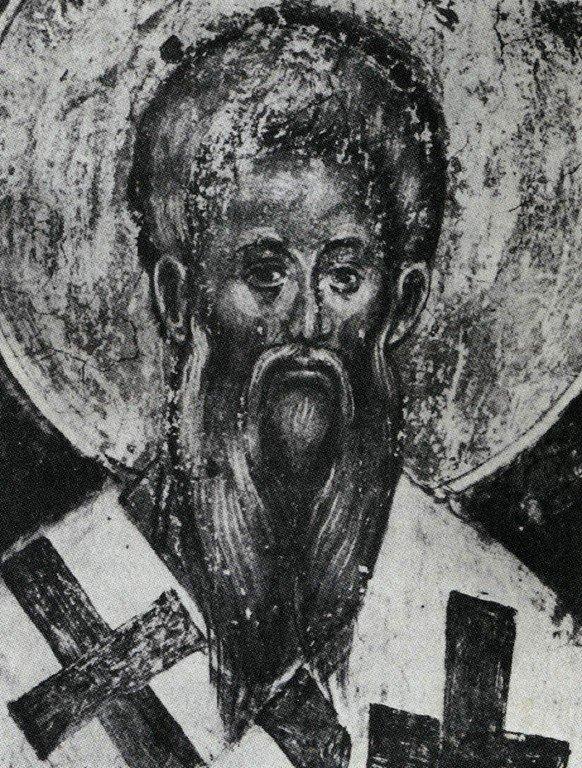 Святой Равноапостольный Мефодий, просветитель славян. Фреска монастыря Каленич, Сербия. Около 1413 года.