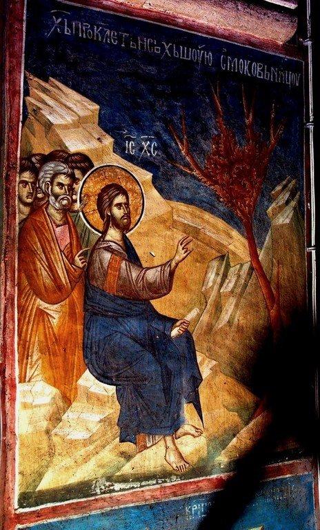 Проклятие смоковницы. Фреска монастыря Высокие Дечаны, Косово, Сербия. Около 1350 года.