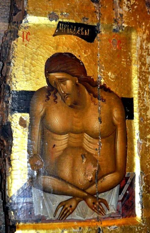 Христос во гробе. Икона XIV века. Монастырь Великий Метеор в Метеорах, Греция.