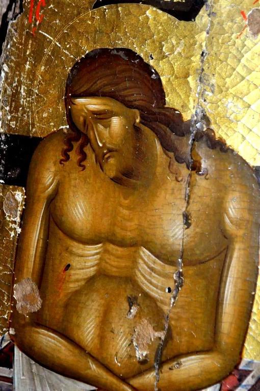 Христос во гробе. Икона XIV века. Монастырь Великий Метеор в Метеорах, Греция. Фрагмент.