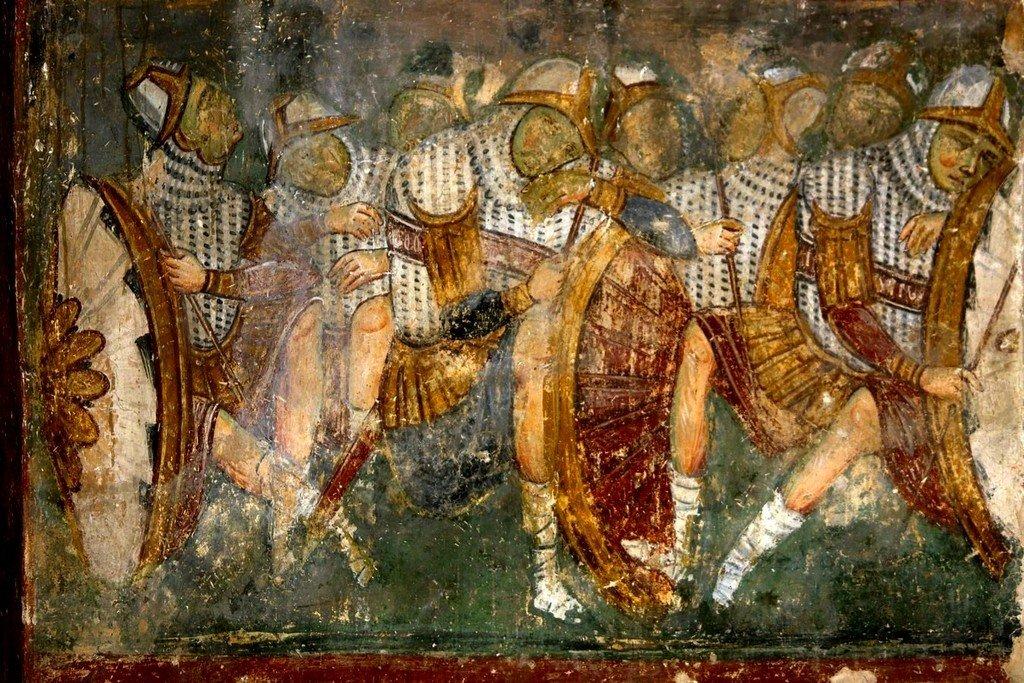 """Явление Ангела Господня женам-мироносицам (""""Белый Ангел""""). Фреска церкви Вознесения Господня в монастыре Милешева (Милешево), Сербия. До 1228 года. Фрагмент. Стража у Гроба Господня."""