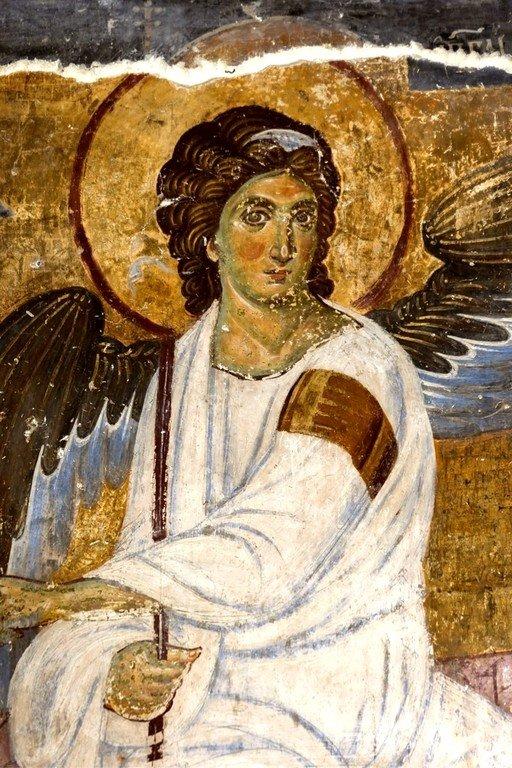 """Явление Ангела Господня женам-мироносицам (""""Белый Ангел""""). Фреска церкви Вознесения Господня в монастыре Милешева (Милешево), Сербия. До 1228 года. Фрагмент."""