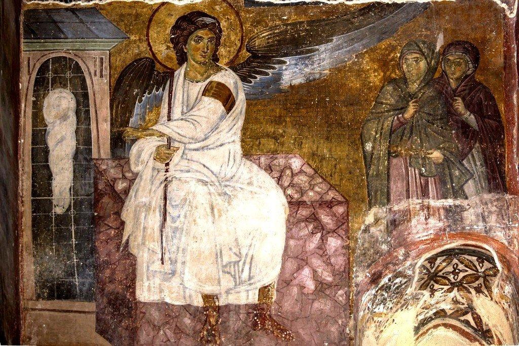 """Явление Ангела Господня женам-мироносицам (""""Белый Ангел""""). Фреска церкви Вознесения Господня в монастыре Милешева (Милешево), Сербия. До 1228 года."""