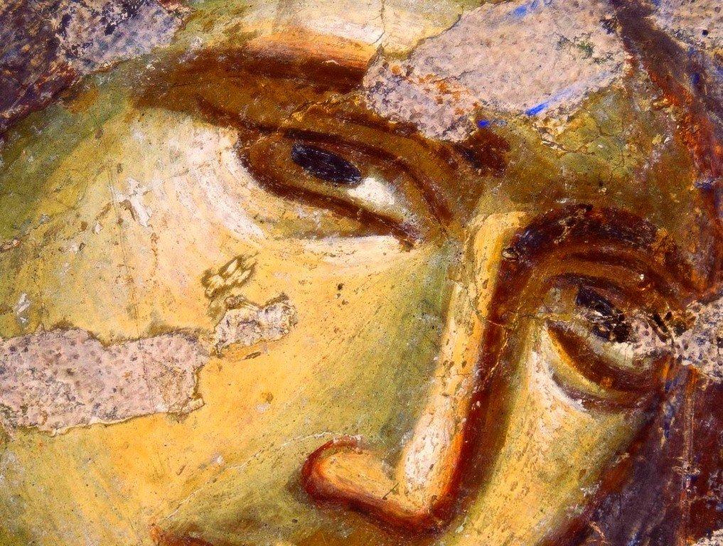 Лик Пресвятой Богородицы. Фреска церкви Богородицы Левишки в Призрене, Косово, Сербия. Около 1310 - 1313 годов. Иконописцы Михаил Астрапа и Евтихий.