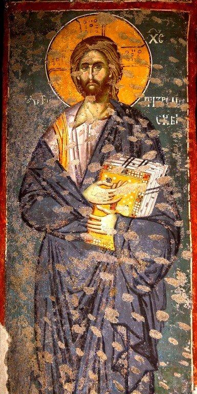 Христос - Хранитель Призрена. Фреска церкви Богородицы Левишки в Призрене, Косово, Сербия. Около 1310 - 1313 годов. Иконописцы Михаил Астрапа и Евтихий.