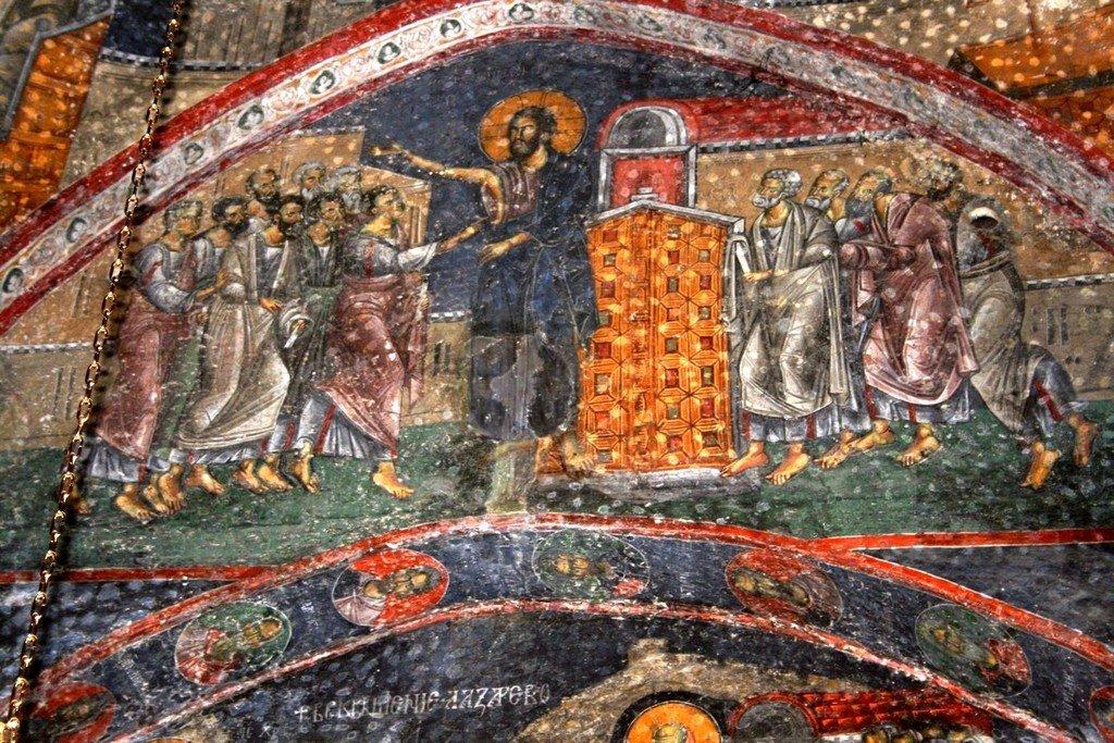Уверение Апостола Фомы. Фреска церкви Святых Апостолов в монастыре Печская Патриархия, Косово, Сербия. 1260 - 1263 годы.
