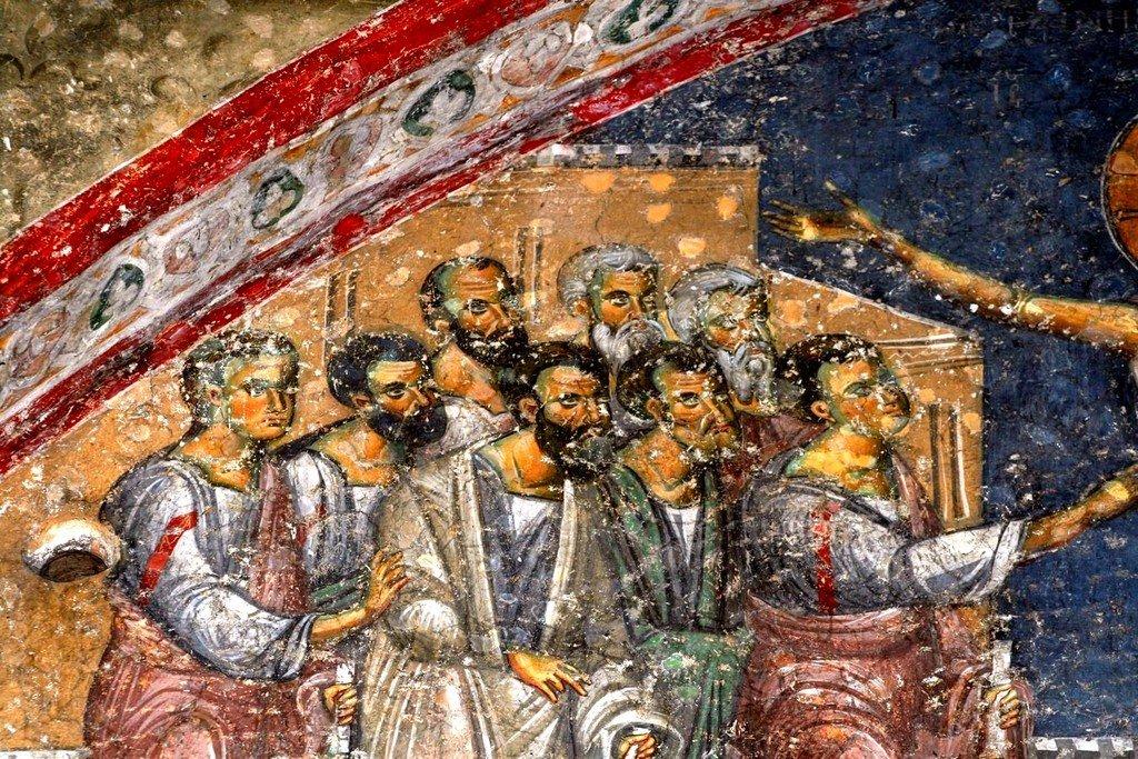 Уверение Апостола Фомы. Фреска церкви Святых Апостолов в монастыре Печская Патриархия, Косово, Сербия. 1260 - 1263 годы. Фрагмент.