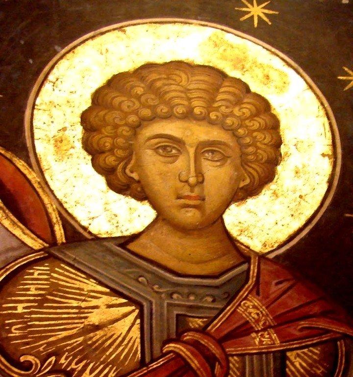 Святой Великомученик Георгий Победоносец. Фреска из церкви Святого Николая монастыря Куртя де Арджеш, Румыния.