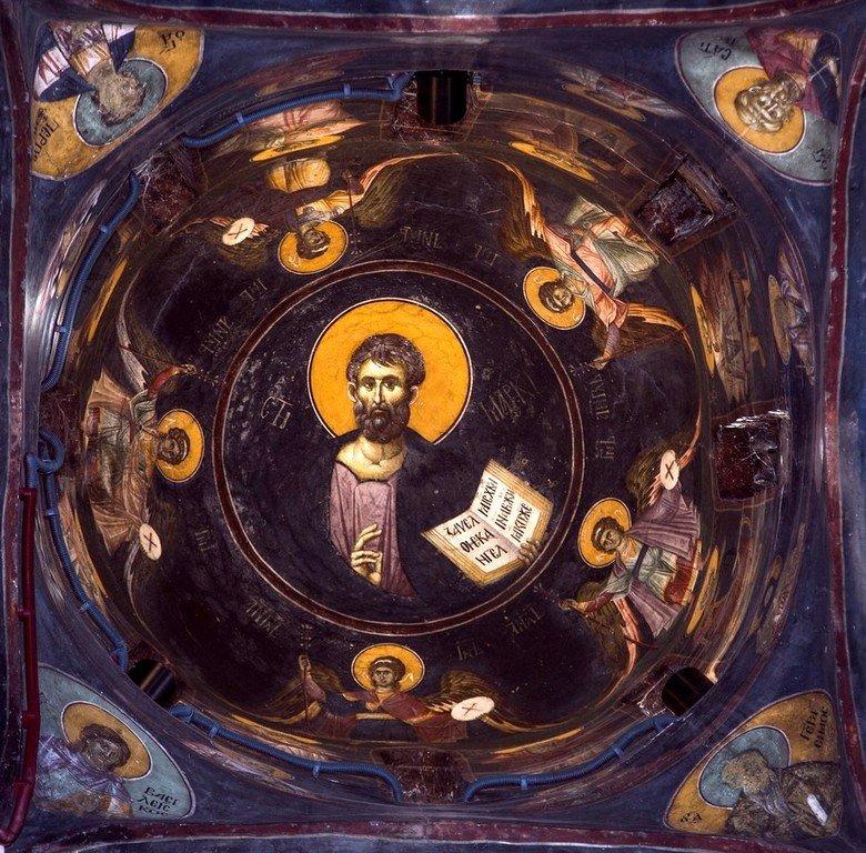 Святой Апостол и Евангелист Марк. Фреска бокового купола церкви Успения Пресвятой Богородицы в монастыре Грачаница, Косово, Сербия. Около 1320 года.