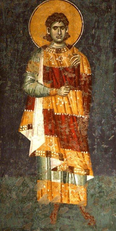 Святой Мученик. Фреска церкви Богородицы Левишки в Призрене, Косово, Сербия. Около 1310 - 1313 годов. Иконописцы Михаил Астрапа и Евтихий.
