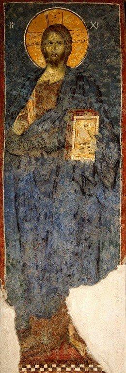 Христос Пантократор. Фреска церкви Богородицы Левишки в Призрене, Косово, Сербия. Около 1310 - 1313 годов. Иконописцы Михаил Астрапа и Евтихий.