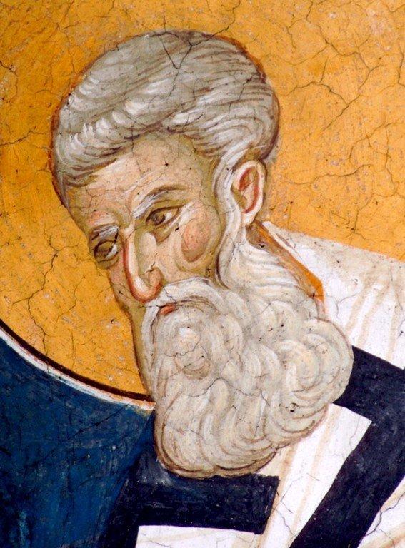 Святитель Афанасий Великий, Архиепископ Александрийский. Фреска монастыря Высокие Дечаны, Косово, Сербия. Около 1350 года.