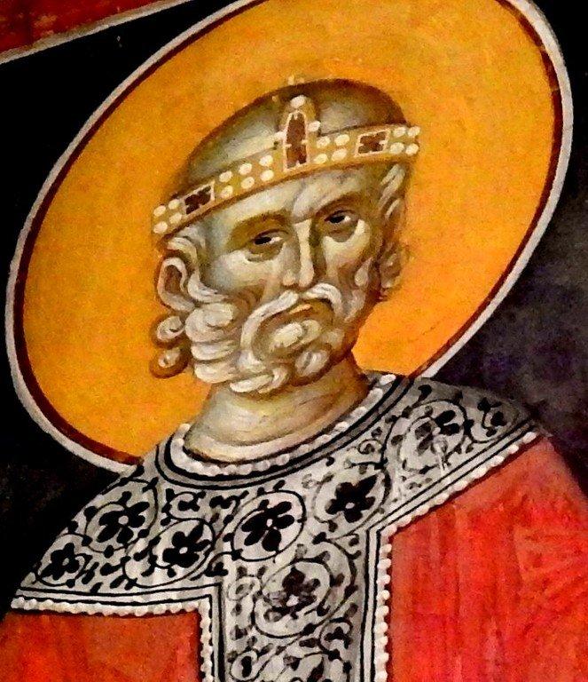 Святой Праведный Иов Многострадальный. Фреска монастыря Грачаница, Косово, Сербия. Около 1320 года.