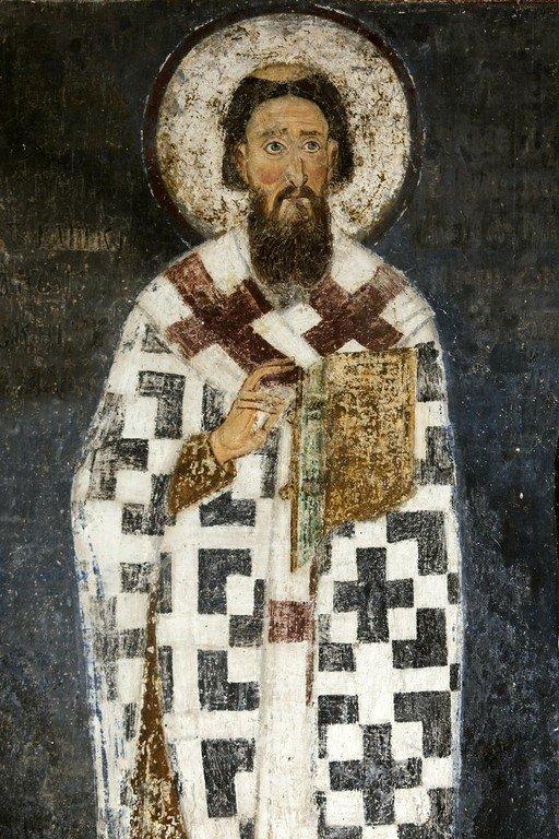 Святитель Савва, первый Архиепископ Сербский. Фреска церкви Вознесения Господня в монастыре Милешева (Милешево), Сербия. XIII век.