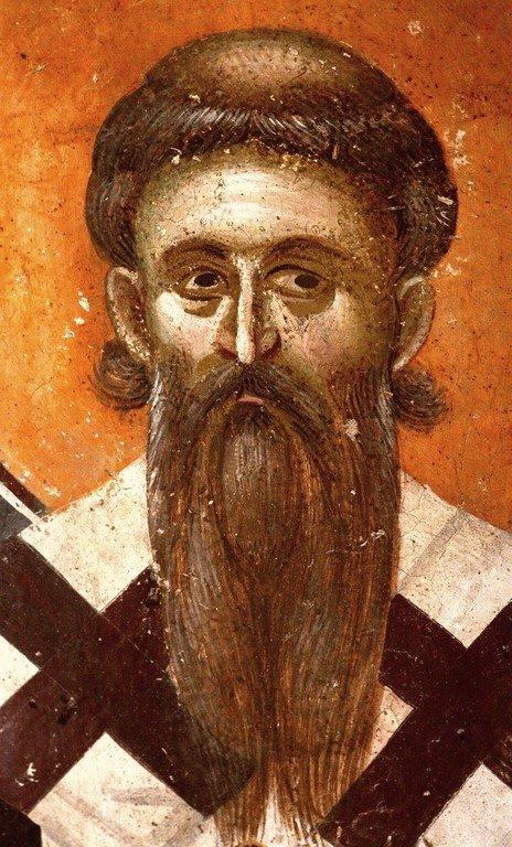 Святитель Савва, первый Архиепископ Сербский. Фреска монастыря Грачаница, Косово, Сербия. Около 1320 года.
