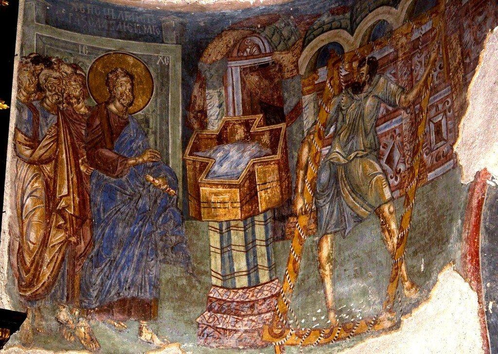 Исцеление расслабленного у Овчей купели. Фреска монастыря Любостиня, Сербия. 1402 - 1405 годы.