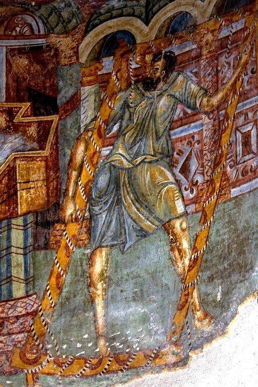 Исцеление расслабленного у Овчей купели. Фреска монастыря Любостиня, Сербия. 1402 - 1405 годы. Фрагмент.
