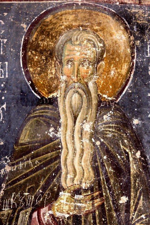 Святой Преподобный Арсений Великий. Фреска церкви Вознесения Господня в монастыре Милешева (Милешево), Сербия. XIII век.