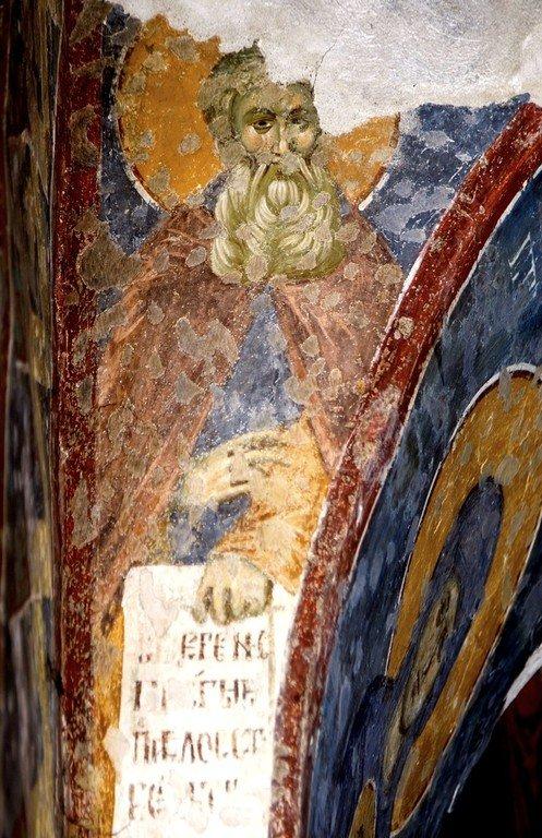 Святой Преподобный Арсений Великий (?). Фреска церкви Богородицы Левишки в Призрене, Косово, Сербия. Около 1310 - 1313 годов. Иконописцы Михаил Астрапа и Евтихий.