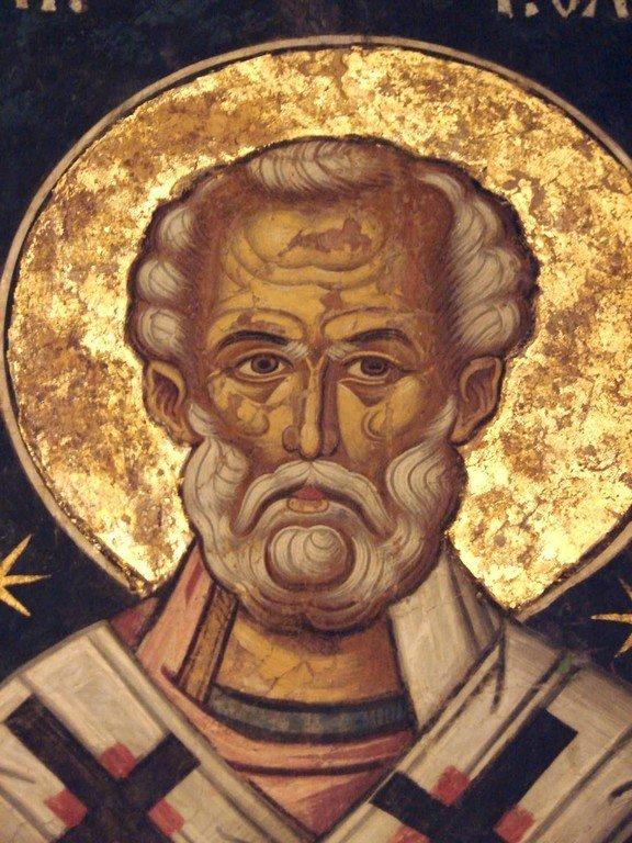 Святитель Николай, Архиепископ Мир Ликийских, Чудотворец. Фреска из церкви Святого Николая монастыря Куртя де Арджеш, Румыния.