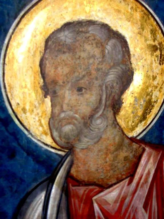 Святой Апостол Симон Зилот (Кананит). Фреска церкви Святого Георгия в Сучаве, Румыния. 1534 год.