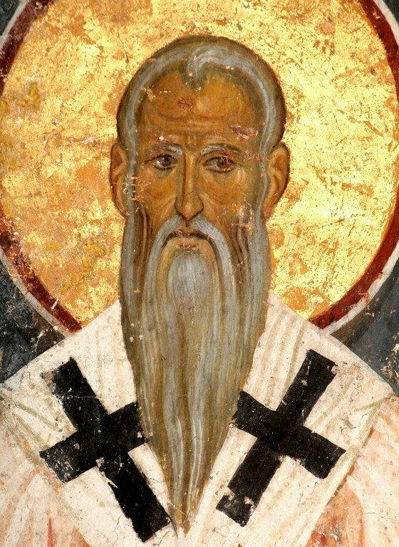 Святой Преподобный Ахиллий, Епископ Ларисийский. Фреска церкви Богородицы в монастыре Студеница, Сербия. 1208 - 1209 годы.