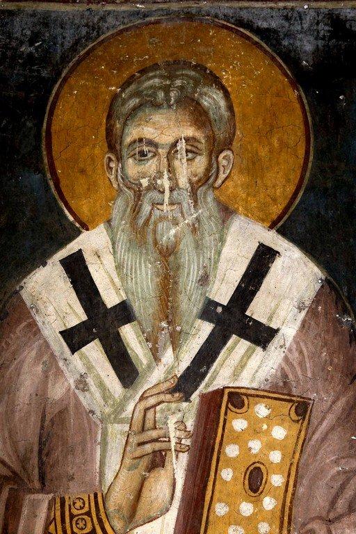 Святой Преподобный Ахиллий, Епископ Ларисийский. Фреска церкви Святого Ахиллия в Ариле, Сербия. 1296 год.
