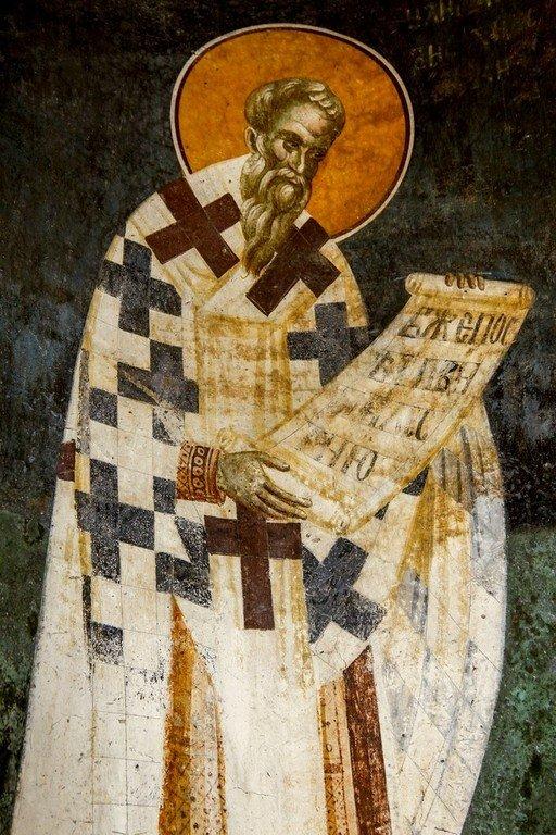 Святой Илия Антиохийский. Фреска монастыря Грачаница, Косово, Сербия. Около 1320 года.