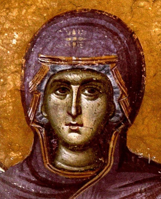 Богоматерь Ширшая Небес (Оранта). Фреска параклиса Пресвятой Богородицы церкви Успения Пресвятой Богородицы в монастыре Грачаница, Косово, Сербия. Около 1320 года.