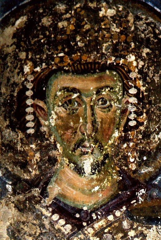 Святой Равноапостольный Царь Константин. Фреска церкви Вознесения Господня в монастыре Милешева (Милешево), Сербия. XIII век.