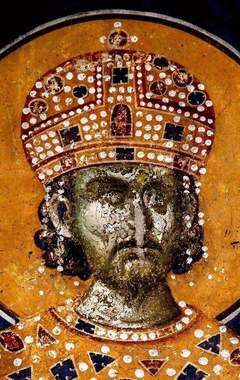 Святой Равноапостольный Царь Константин. Фреска монастыря Грачаница, Косово, Сербия. Около 1320 года.