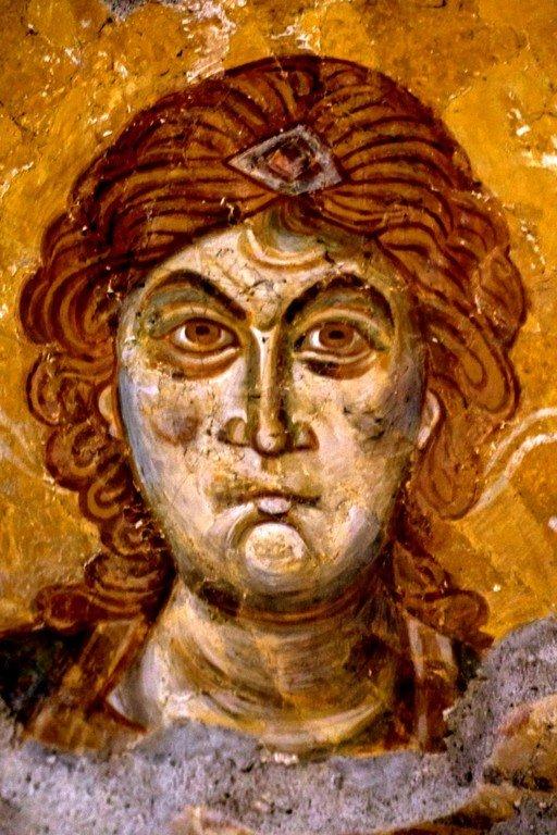 Лик Архангела. Фреска Петровой церкви в Старом Расе, Сербия.