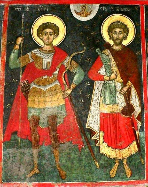 Святые Великомученики Георгий Победоносец и Иоанн Новый, Сочавский. Фреска монастыря Сучевица, Румыния.