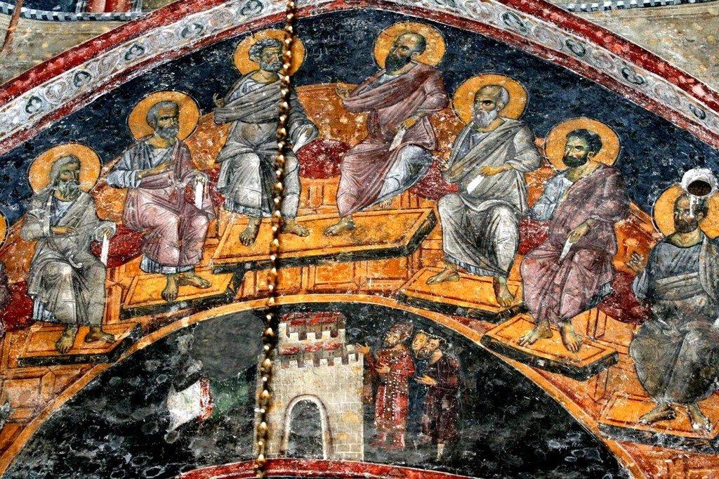 Сошествие Святого Духа на Апостолов. Фреска церкви Святых Апостолов в монастыре Печская Патриархия, Косово, Сербия. 1260 - 1263 годы.