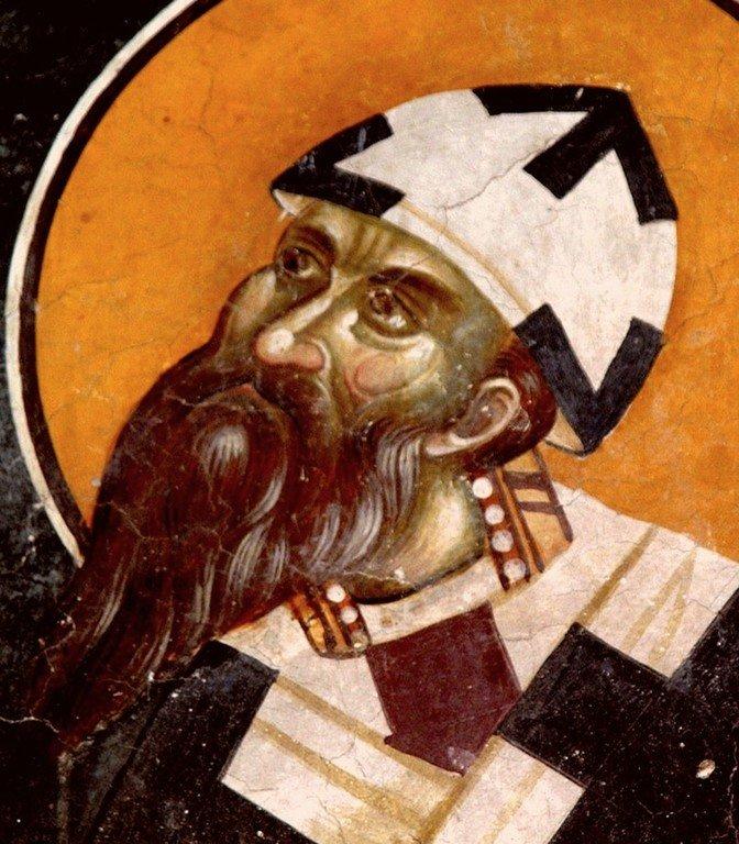 Святитель Кирилл, Архиепископ Александрийский. Фреска церкви Святых Иоакима и Анны (Королевской церкви) в монастыре Студеница, Сербия. 1314 год.