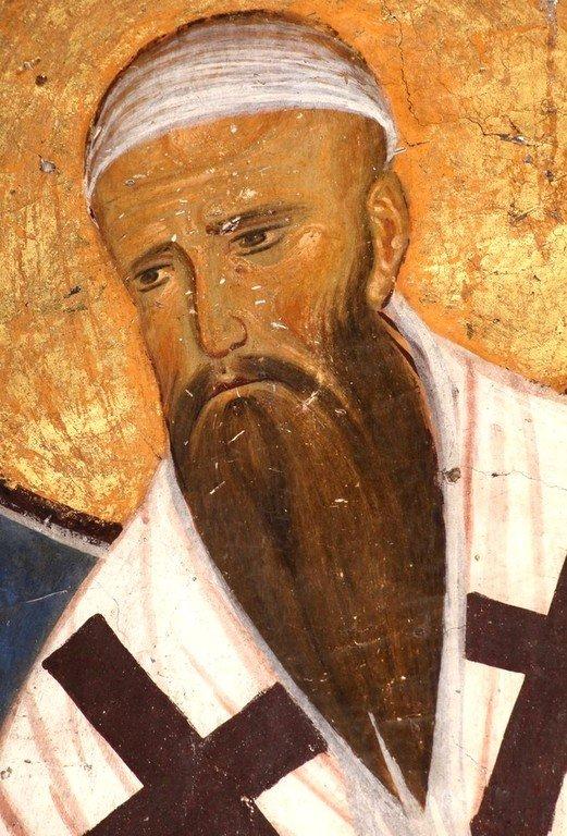 Святитель Кирилл, Архиепископ Александрийский. Фреска церкви Богородицы в монастыре Студеница, Сербия. 1208 - 1209 годы.
